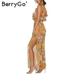 Wholesale Women S Jumpsuit Splits - BerryGo Boho ruffle chiffon summer overalls Deep V women jumpsuit romper bodysuitBackless high waist split playsuit macacao 17501