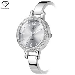 Wholesale Ladies Ceramic Band Watches - Wholesale- FTV Silver Bracelet Watch For Woman Alloy Band New Design Ladies Quartz Wristwatches Fashion Reloj Mujer 2016 Montre Femme