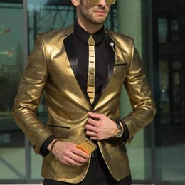Wholesale Mens Slim Handsome - Handsome Jacket Gold Wedding Suits for Men Tuxedos One Piece Slim Fit Bridegroom Wear The Best Mens Suits Canada Jackets Custom Made