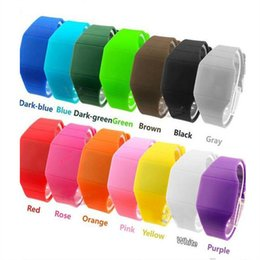 Wholesale Square Silicon Watches - 14 Colors Silicon Led Touch Watces Jelly Candy Silicon Digital Wrist Watch Men Women Unisex Casual Watch Gift Watches