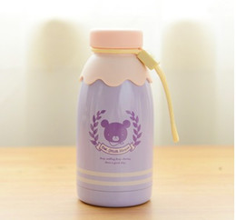 Wholesale Baby Flask - Wholesale-300ml and 350ml Kawaii Little Bear Milk Bottle Stainless Steel Vacuum Cup Thermal Cup Heat Insulation Vacuum Flasks Baby Bottles