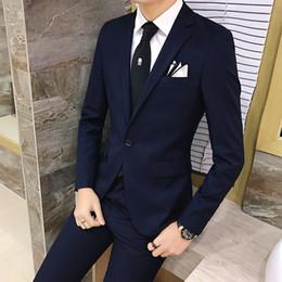 Wholesale korean wedding suits for men - Wholesale- 2pcs set 2016 new fashion Korean style Slim Black Mens suit with pants High quality wedding suits for men dress Clothing men's