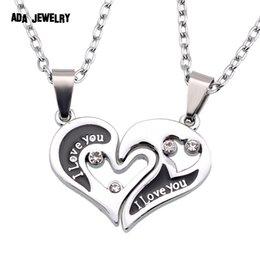 Wholesale U Double - Wholesale-Wholesale Couple Lovers Necklaces & Pendants 316L Stainless Chain men Necklaces I Love U Double Heart Necklace Jewelry
