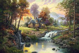 Wholesale Mountain Wall Painting - 010 Mountain Retreat Thomas Kinkade Oil Painting,HD Art Print Original Canvas Wall Deco,Multi size,Free Shipping,framed