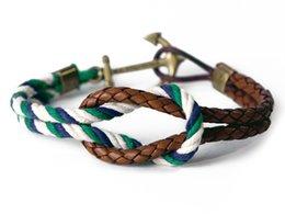 Wholesale Cotton Braid Bracelet - Wholesale- 2016 Fashion Wristband Bronze Double Braided Brown Leather Anchor Bracelet Bangle Women Men Cotton Rope Hook Bracelet Wholesale