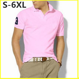 Wholesale Mens Shirts Big Sizes - Big Size S-6XL Polo Shirt Men Big Horse Camisa Solid Short Sleeve Summer Casual Camisas Polo Mens DHL Free Shipping