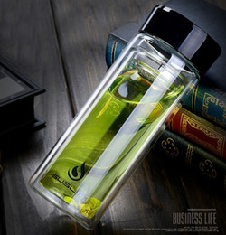 Wholesale Office Direct - European Style 350ML Glass Water Bottle With Tea Infuser Strainer Heat Resistant Travel Car Office Drinking Bottles Teacups