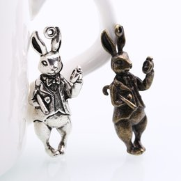 Wholesale Rabbit Jewelry Vintage - Wholesale-Vintage Metal Zinc Alloy Animals Rabbit Charms for Jewelry Makings Diy Rabbit Pendant Charms 10pcs lot 14*37mm 8372