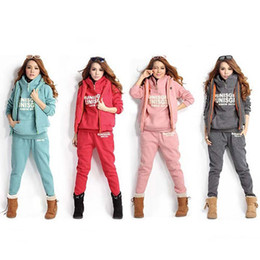 Wholesale Hoodie Vest Women - Women Casual s Hoodie Sweatshirt Vest Pants Sweat Suit 3 Pcs Tracksuit Set