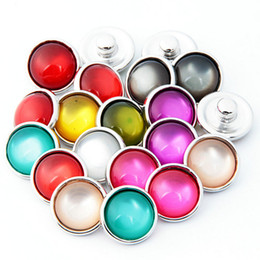 Wholesale Diy Ring Gems - 2017 Solid color gem DIY Noosa Button 12mm Alloy+Opal+Glass Snap buttons jewelry Accessories for Bracelets Rings Pendants