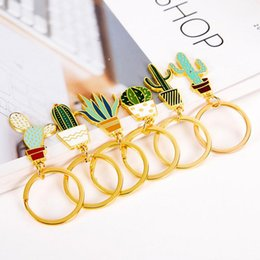 Wholesale jewelry cactus - Cactus Keychains Keyrings - Mini Cute Gold Color Potted Plant Cactus Shape Key Rings Chains Holder For Women Bag Charm Pendant Jewelry