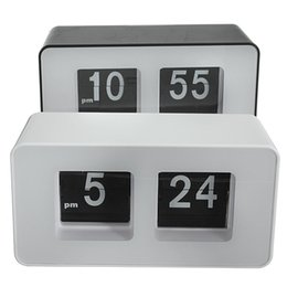 Wholesale High Quality Wall Clocks - Wholesale-High Quality New Design Simple Modern Unique Retro Concise Simple Cube Nice Desk Wall Auto Flip Clock Wholeslae Price