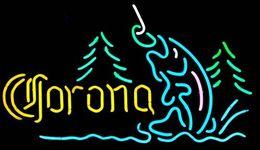 Мода Handcraft Corona Mountain Fly Fishing Реальные стеклянные трубки Пивной бар Pub Показать неоновая вывеска 19x15 !!! Лучшее предложение! от