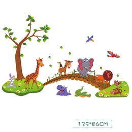 Wholesale Wall Stickers Lion - H High Quality Cartoon Animals Cross The Bridge Lion Elephant Bear Rabbit Pig Bird Tree Happy Wall Sticker Powerful Professional Package