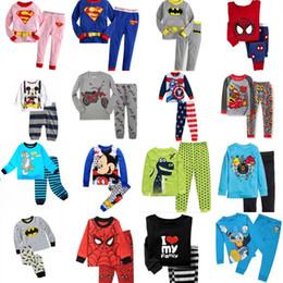 Wholesale Boys Pyjamas Cartoon - kids pyjamas pajama superhero cartoon cotton pajamas boys girls superman ironman spiderman batman home wear suit pajama pyjamas
