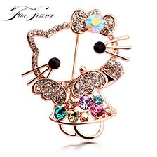 Wholesale China Wholesale High End Jewelry - High-end brand gold-plated all crystal brooch colorful cute kittens brooch women's wedding jewelry