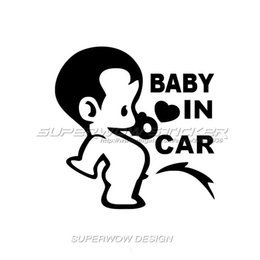 Wholesale Waterproof Material Baby - Baby in car body sticker cute baby personality reflective car stickers pee baby car stickers waterproof stickers