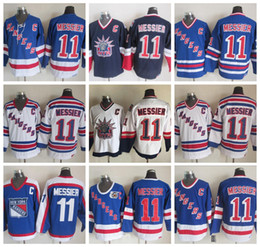 Wholesale Ranger Patches - Throwback New York Rangers Mark Messier Hockey Jerseys 1991 CCM Vintage 11 Mark Messier Jersey NYR Blue 75th Stitched C Patch