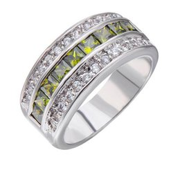 Wholesale Vintage Peridot Jewelry - Male Female Peridot Geometric Ring Fashion White Gold Filled Jewelry Vintage Wedding Rings For Men And Women