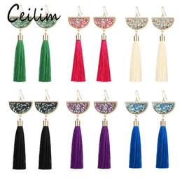 Wholesale Jewelry Fabrics - New Bohemian Crystal Tassel Earrings Black White Blue Red Green Silk Fabric Long Drop Dangle Tassels Earrings For Women Jewelry Gifts