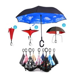 Wholesale Open Rain - Travel Umbrella Strong Waterproof C Shape Double Layer Reverse Car Umbrella Open Close In The Narrowest Space Creative Graphic