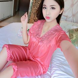 Wholesale Ice Silk Printed - Wholesale New 2017 Summer Luxurious Solid Ice Silk Pajamas Sexy Pyjama Femmel Home Clothing Pajamas Set Woman Sleepwear Set