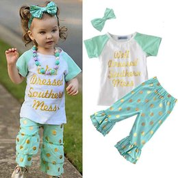 Wholesale Cute Childrens Clothes - INS Girls Childrens Clothing Sets Short Sleeve tshirts Printed Pants 2 Piece Set Letters Arrow Kids Clothes Suits Boutique Clothing 0901276