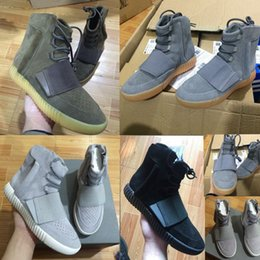 Wholesale Glow Dark Lighting - 2016 Boost 750 Light Grey Gum Glow In The Dark Kanye West Shoes Basketball Shoes Sneakers 750 Boost Men Sports Casual Boosts