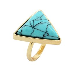 Wholesale Turquoise Stone Wedding Ring - Fashion Triangle Shaped Blue Turquoise Wedding Ring Retro Punk Natural Stone Gold Plated Rings for Women Fine Jewelry