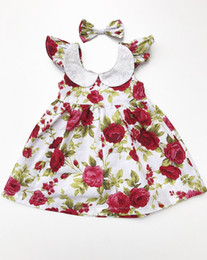 Wholesale Natural Flower Hair Clips - 2017 Baby Girl kids Party Dress Summer New Girl Dress Lace Collar Rose Flower Print Sleeveless Dress+Bow Hair Clip Children Clothing