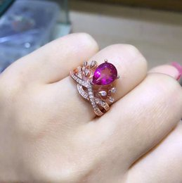 Wholesale natural blue tanzanite - Loving-time S925 white gold plated Opening ring Natural ruby,blue topaz,grape stone,peridot,size 5 * 7mm,the new women's adjustic crown ring