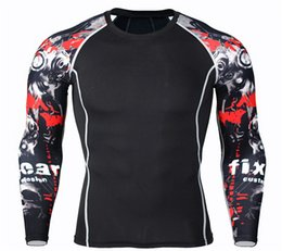 Wholesale Men S Rash Guards - Wholesale- Long Sleeve Rash Guard Complete Graphic Compression Shorts Multi-use Fitness MMA Tops Shirts Men Suits