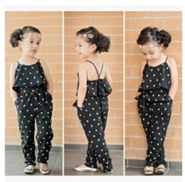 Wholesale Girls Heart Shape Outfit - INS baby Lovely Heart-Shaped jumpsuit cargo pants bodysuits kids clothing children Outfit Girls Casual Sling Clothing Sets romper
