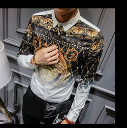 Wholesale Open Casual Shirts - 2018 newest Europe fashion Wave of men 3D Floral Print casual shirt Luxury Harajuku Silk Shirt Long sleeve male Medusa Shirts