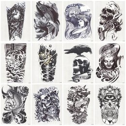 Wholesale Temporary Foot Ankle Tattoos - Wholesale-24 Sheets 3D Tattoo Waterproof Temporary Tattoo For Men Conversion Of Tattoos Transferable Fake Tattooing Flash Stickers