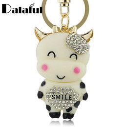 Wholesale Animal Car Accessories - beijia Lucky Smile Crystal Cow Keyring Keychains For Car HandBag Pendant Accessories Party Gift Key Chains Holder K213