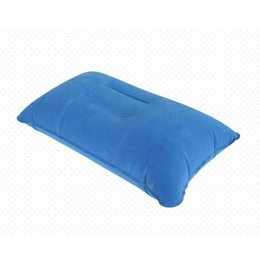 Wholesale Inflatable Travel Neck Cushion - Air Inflatable Pillow Outdoor Portable Folding Double Sided Flocking Cushion for Travel Plane Hotel Hot Worldwide Free Shipping