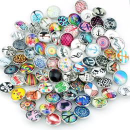 Wholesale Diy Glass Bangles - Wholesale-20pcs lot Mix Styles Colors Snap Buttons Charms 18mm Print Glass Cabochon Fit DIY Snap Bracelets&Bangles Jewelry ZM026