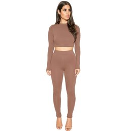 Wholesale Womens Sexy Pants Suits - Womens Hot Sexy Bodycon Two Piece Sets Autumn Fashion Slim Long Sleeve Crop Tops and Pants 2 piece Set Clothing For Woman Two piece Suits