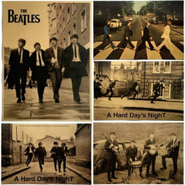 Wholesale Vintage Beatles Poster - Beatles poster The Beatles vintage kraft paper rock music poster