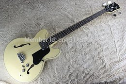 Wholesale Rice Toppings - free shipping Top Quality Lower Price Custom Rice yellow es3 jazz Hollow Body 4 String jazz electric bass guitar