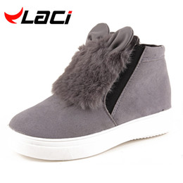 Wholesale Korean Shoes Open Toe - Wholesale- Fashion Woman Platform With Fur Korean Style Cartoon Ears Boots For Teenager Student Snow Shoes Female Warm Botas