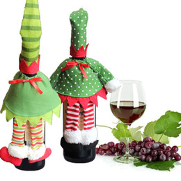 Wholesale Elf Hats - Hot Sale Christmas Elf Red Wine Bottle Sets Cover with Christmas Hat Clothes for Xmas Decor Home Resturant Decorations