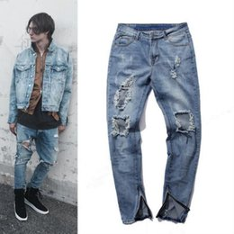 Wholesale Urban Jeans Men - Wholesale- Kanye West Slp Jeans Light Blue Urban Clothing Kpop Skinny Ripped Men'S Jeans