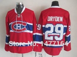 Wholesale Hot Ken - Hot Men's Ken Dryden Jersey Red Home Stitched Throwback Vintage Ice Hockey Jerseys