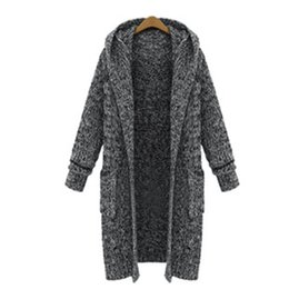 Wholesale Grey Knit Cardigan Women - Wholesale-Plus Size Women Grey Sweater Cardigans Coat Autumn Winter Korean Long Hooded Jacket Knitted Thick Outewear 2016 New LJ3626