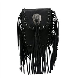 Wholesale Leather Fringe Purse Handbag - Wholesale-Hot Fashion Women's PU leather Suede Weave Tassel Shoulder Bag Rivets Messenger Bag Fringe solid color Handbags zip top purse