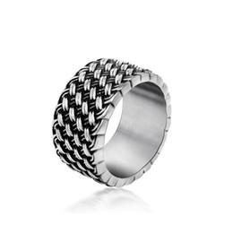 Wholesale Great Love - Men's vintage weave love stainless steel rings personality designer titanium steel metal mixed rings jewelry accessories