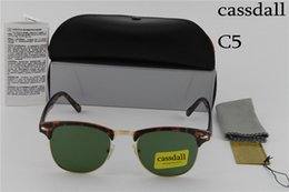 Wholesale Wholesale Mens Designer Frames - 10pcs High Quality Fashion cassdall Designer Sunglasses Sun Glasses For Mens Womens Tortoise Frame Green 51mm Glass Lenses With Cases Box