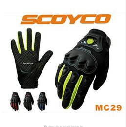 Wholesale Motor Bike Racing Gloves - Hot Promotion Scoyco mc29 Motorcycle Motocross full Finger Glove Rubber Shell Racing Gloves Motor bike Guantes